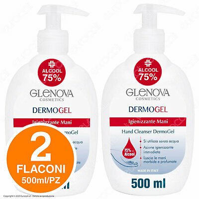 1 Litro GEL Mani GLENOVA Alcool 75% 2 Flaconi da 500ml Dispenser Igiene con Aloe