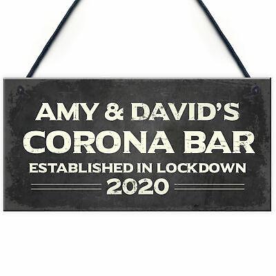 Personalised Corona Bar Home Bar Sign Novelty Quarantine Man Cave Garden Gifts