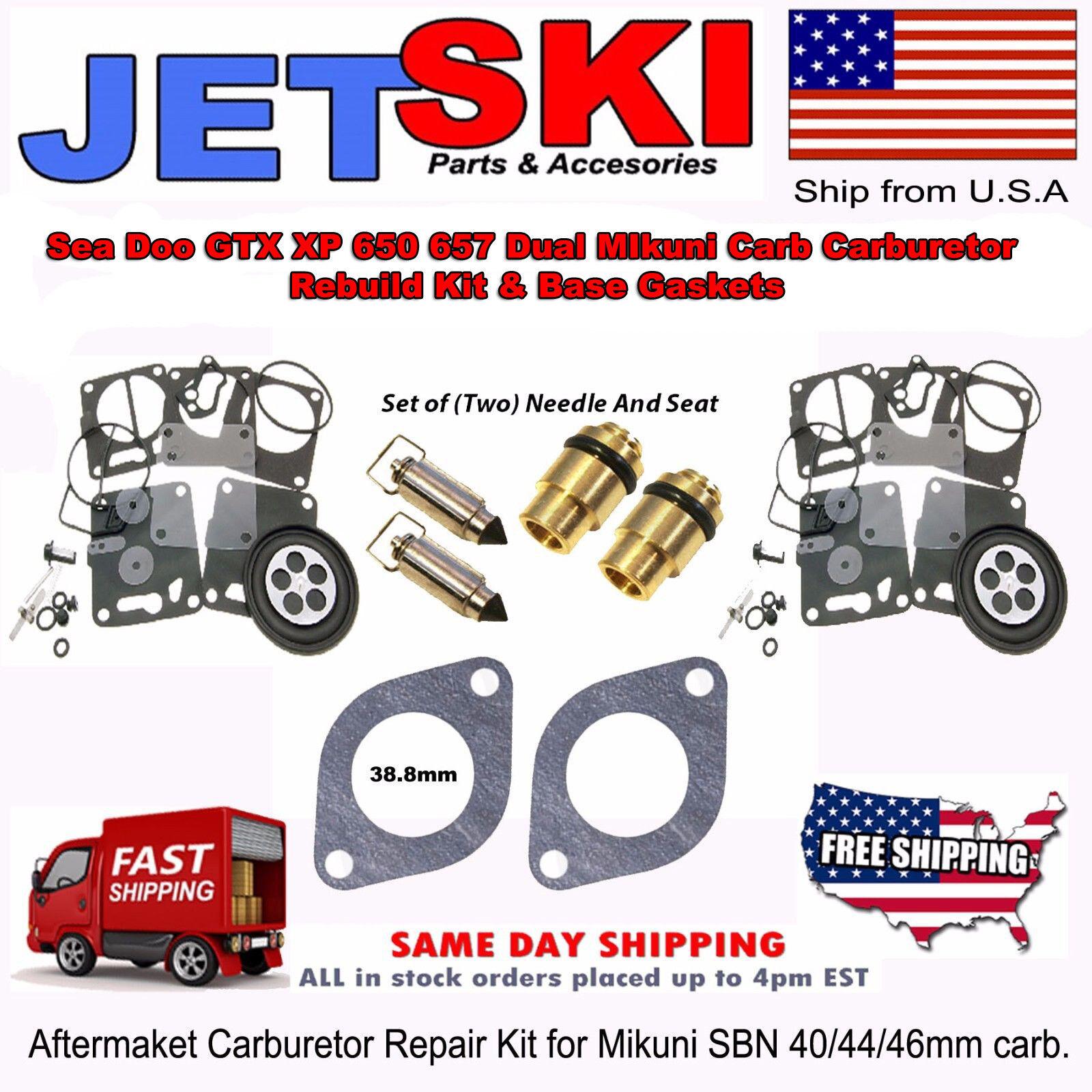 Set of (TWO) Sea Doo GTX XP 650 657 MIKUNI  Carburetor Rebuild Kit NEEDLE SEAT