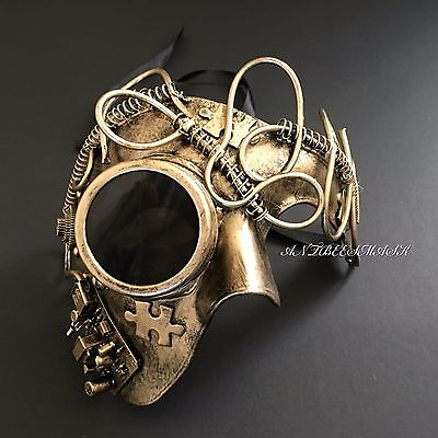 Steampunk Gold Puzzle Goggle Pipe Phantom Halloween Costume Mask - Puzzle Halloween Costume