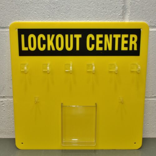 "Condor Unfilled Padlock Station 437R77, 14"" x 14"", Black / Yellow, Acrylic, LOTO"