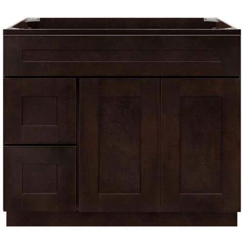 """36"""" Vanity Sink Base Cabinet with Left Drawers Espresso Shaker by LessCare"""
