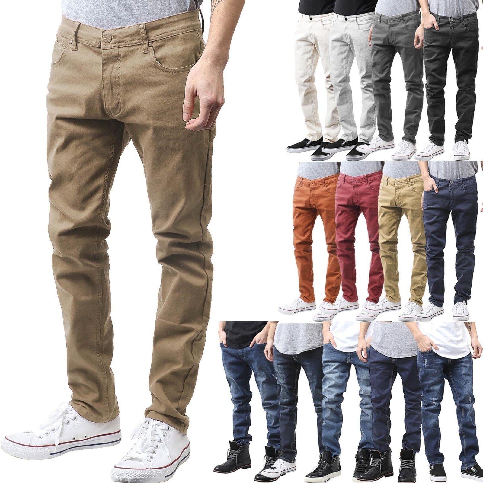 Mens Skinny Jean Slim Fit Denim Color Pants Washed Premium D