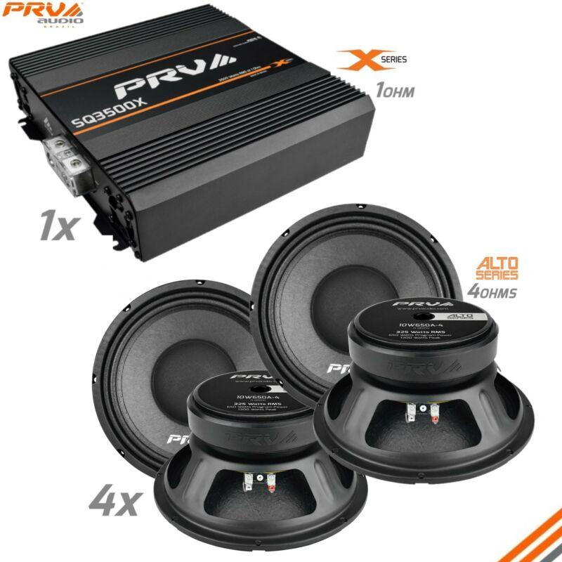"""4x PRV 10"""" Midbass Speakers 10W650A-4 ALTO + SQ3500X 1 Ohm Car Audio Amplifier"""