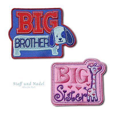 Brüder Patch (Aufnäher Bügelbild Aufbügler Patch Baby Kinder Applikation Bruder Schwester )