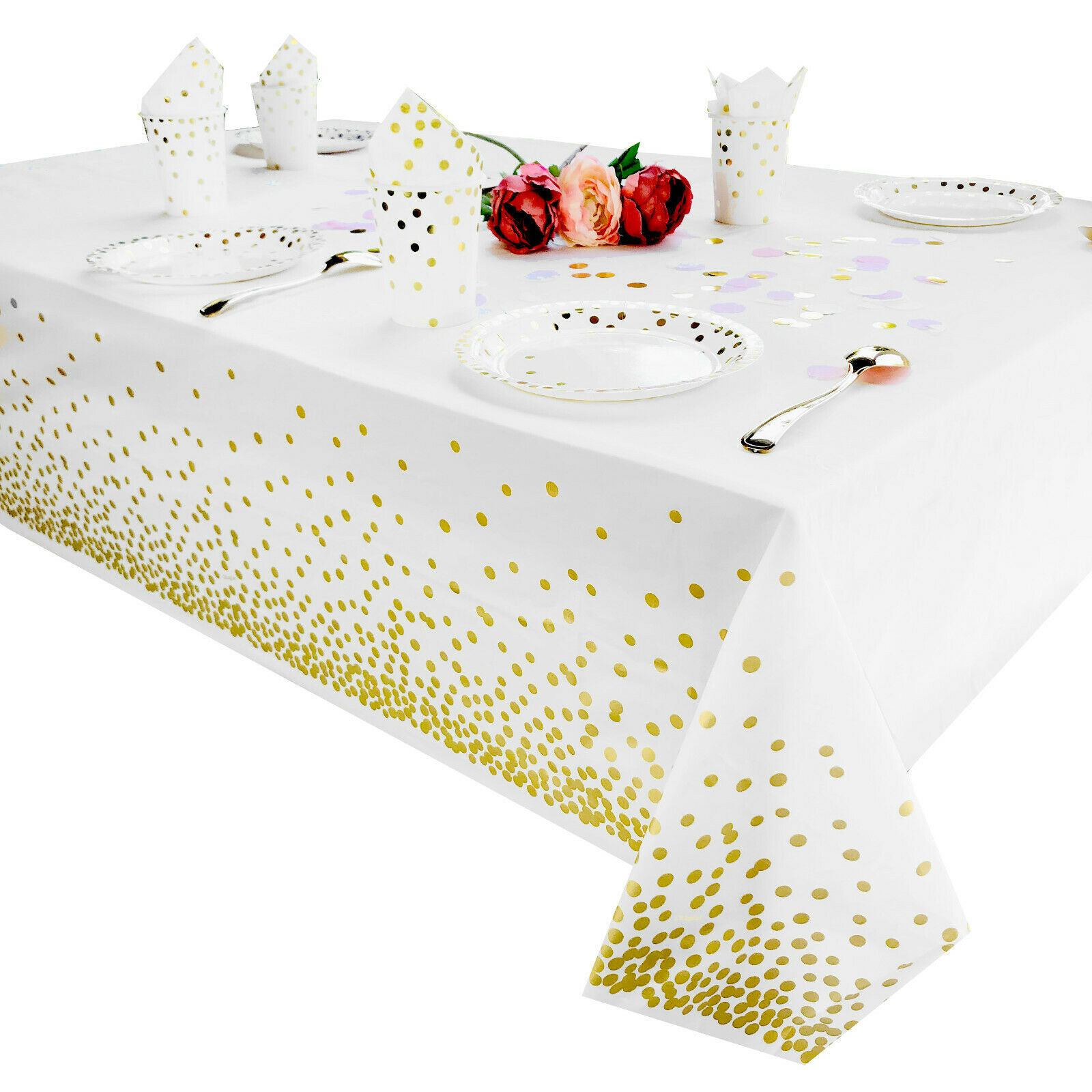 Plastic Tablecloth for parties, Gold, white dot decorations