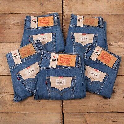 NEW Levis Men's 501 Blue Denim Jeans Original Genuine Straight Fit. BNWT.