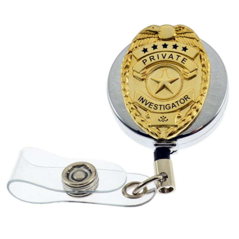 PI Private Investigator Eye Mini Badge Retractable ID Holder Reel Lanyard Chrome