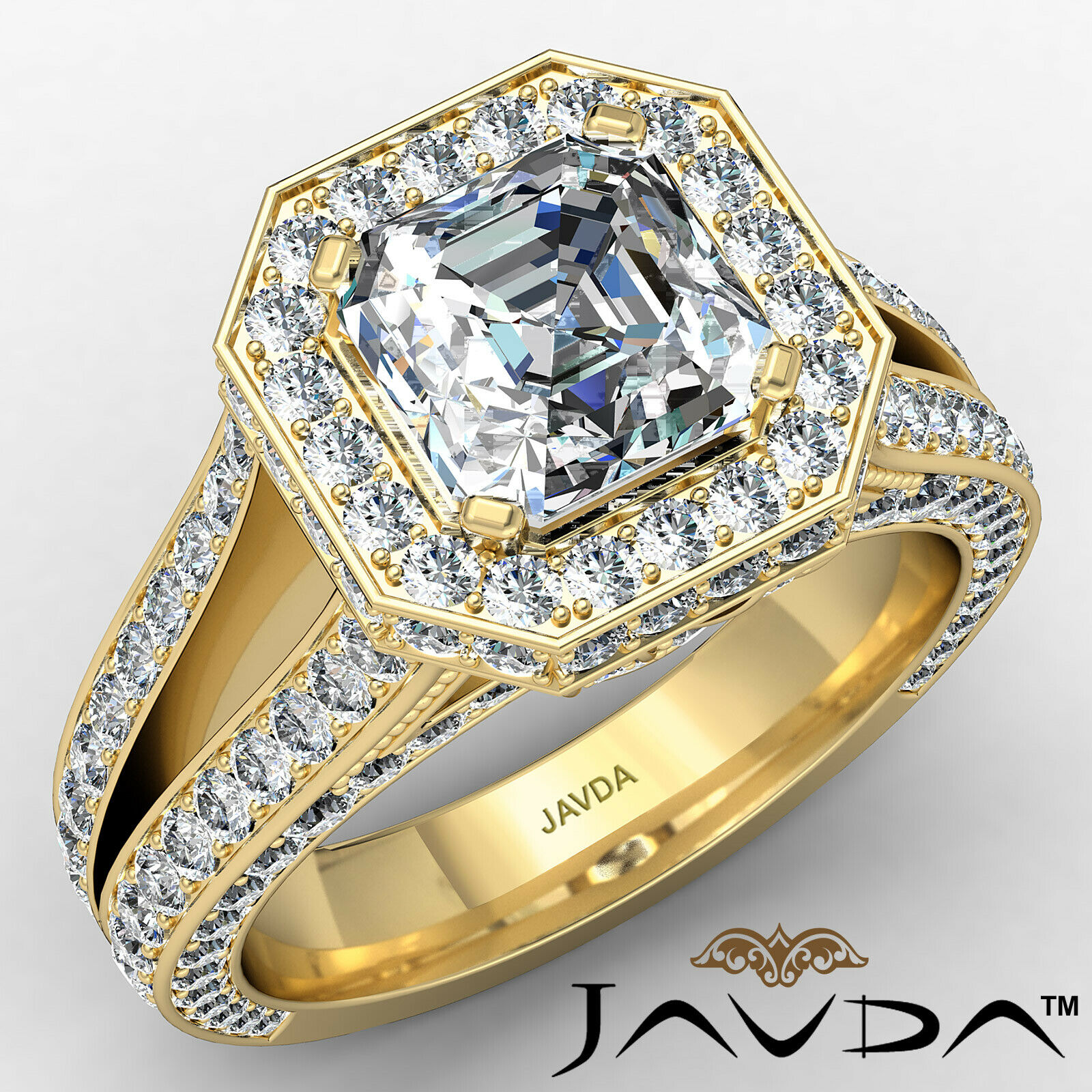 Halo Asscher Diamond Engagement Ring GIA Certified G Color & SI2 clarity 2.4 ctw 1