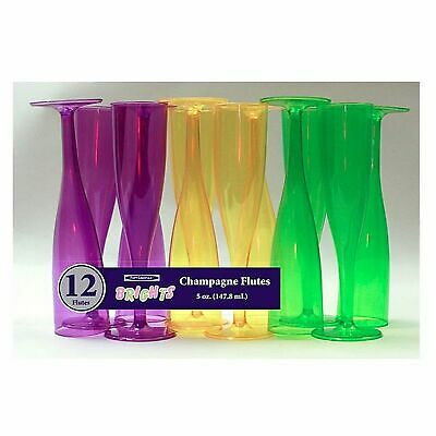1 of Party Essentials 5 Oz. 1 pc. Champagne Glasses - Mardi Gras Box Set 12 Ct. - Purple Plastic Champagne Glasses