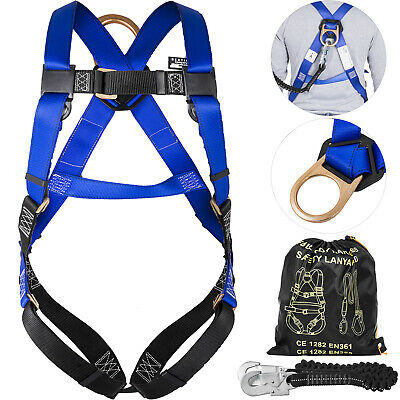 Construction Harness Lanyard Combo Protection Set Roofers Rescuers Snap Hook