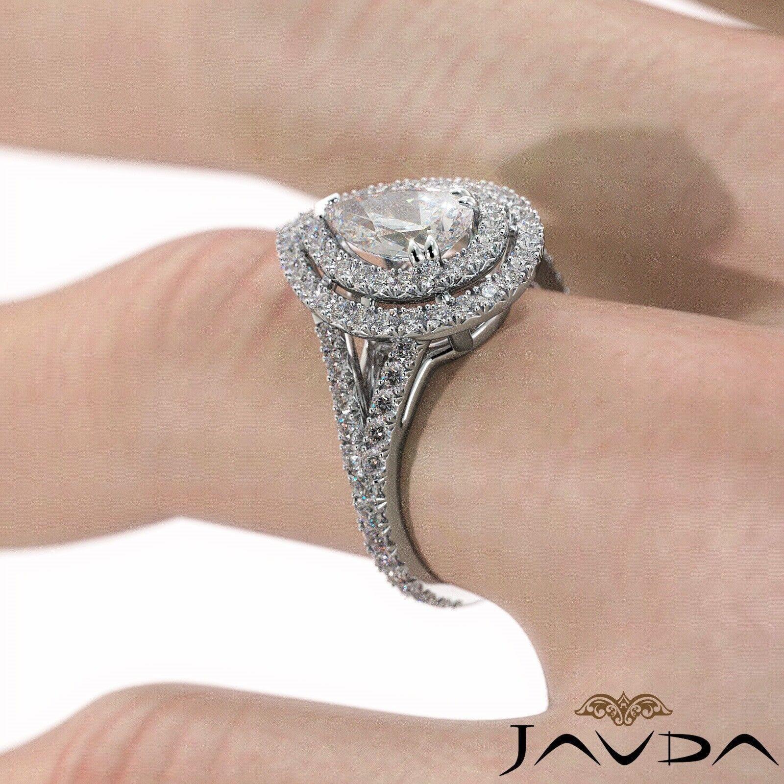 2.12ct Double Halo Split Shank Pear Diamond Engagement Ring GIA E-SI1 White Gold 6