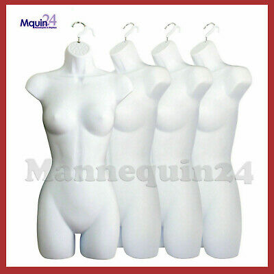 A Lot Of 4 White Mannequin Female Dress Forms - Womens Plastic Hanging Torsos