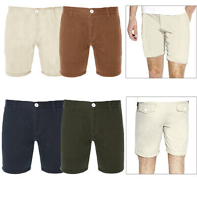Brave Soul Mens Smith Canvas Shorts Designer Cotton Twill Roll Up Chino Pants