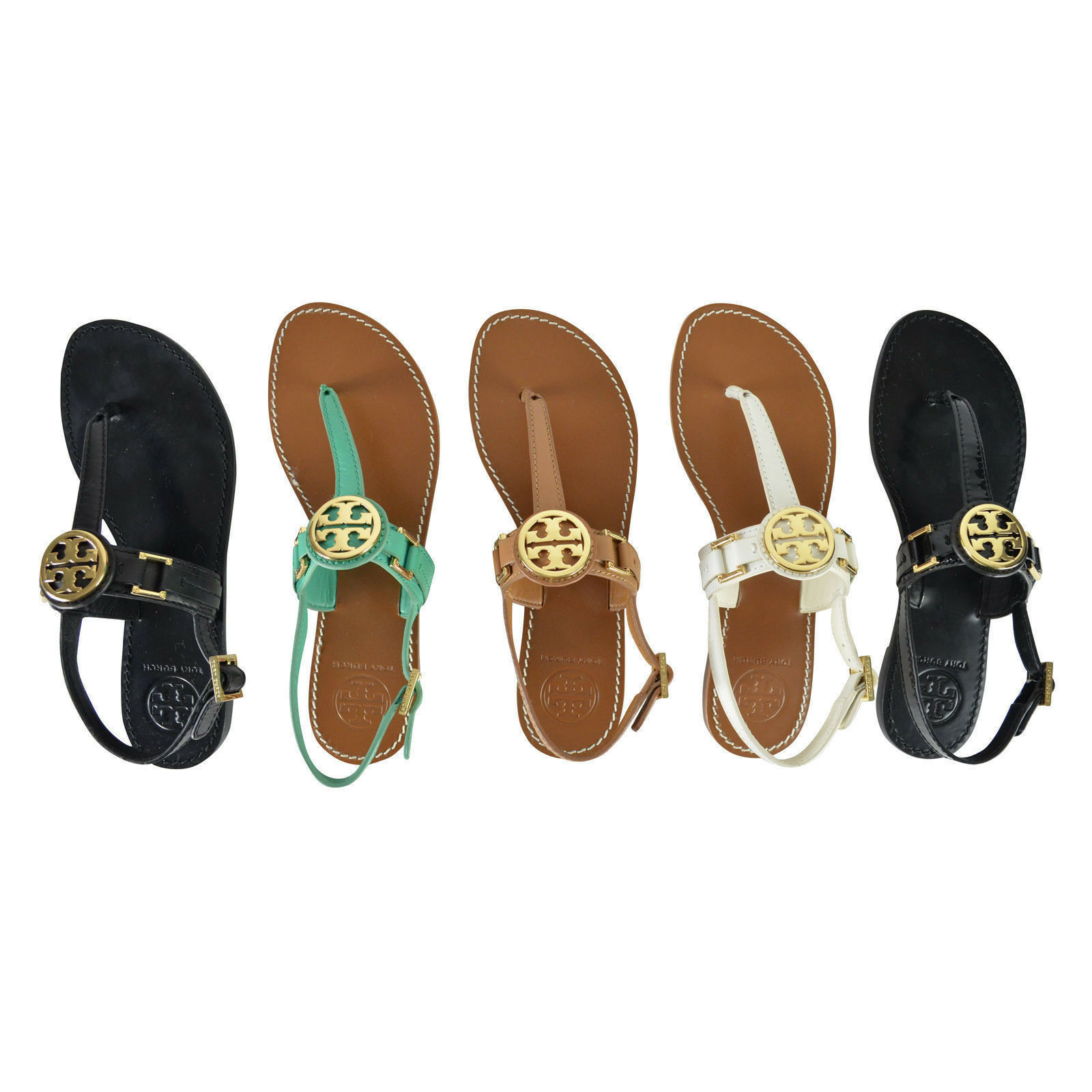 77590855269 NIB Tory Burch Cassia French Calf Leather Flat Thong Sandals Variety of  Colors