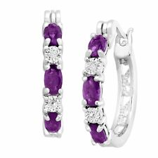 February Birthstone Natural Amethyst Earrings w/ Diamonds in Platinum over Brass