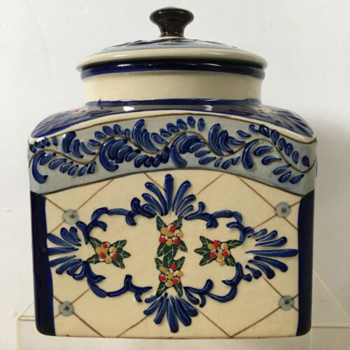 Tuscan Style Blue Ceramic Relief Texture Expressions Cookie Jar Hand Painted