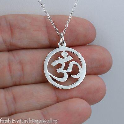 Om Necklace   925 Sterling Silver   Pendant Namaste Yoga Mantra Ohm Symbol Aum