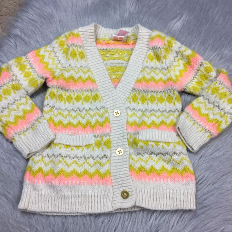 Cat & Jack Toddler Girls 3T Yellow Cream Pink Metallic Cardigan Sweater