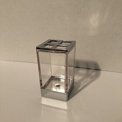 InterDesign Toothbrush Holder Stand Bathroom Countertop Clear Silver Chrome