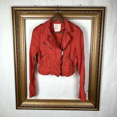 Free People 6 Jacket Linen Blend Orange Moto Zip Casual Crop Club Festival Boho