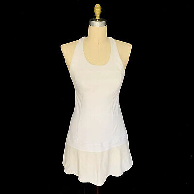 Lululemon Hot Hitter White Tennis Dress Size 10 Womens Smooth Stretchy