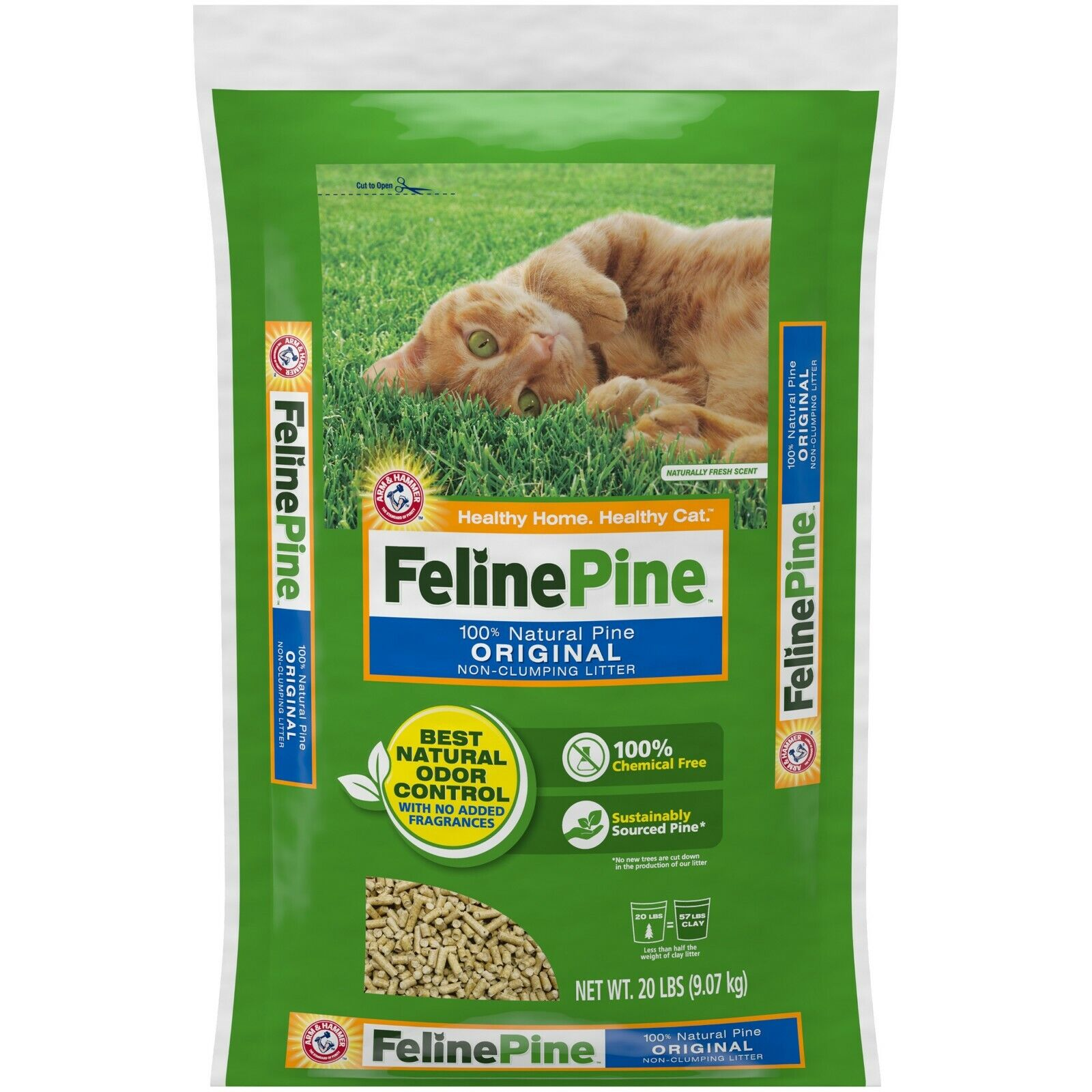 Feline Natural Pine Original Cat Litter 20lb Pet Kitty Odor