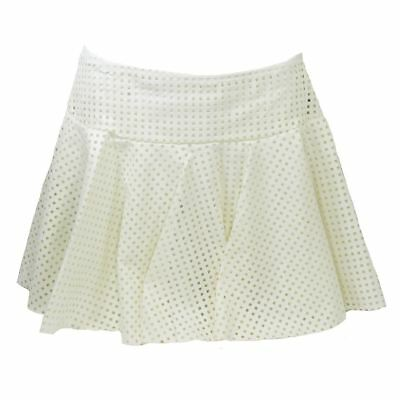 Womens White Punk Rocker Emo School Girl Skirt Costume Mesh Faux Leather S M L
