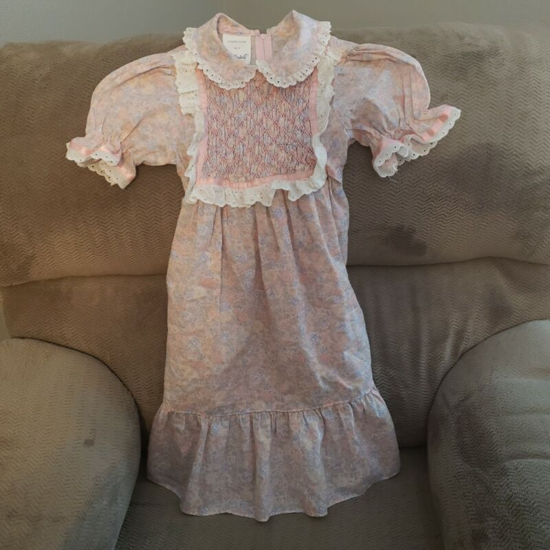 Polly Flinders Hand Smocked Dress Girls Size 8 Pink Floral