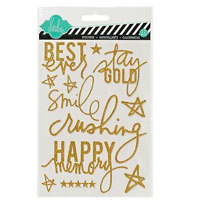 Heidi Swapp GOLD GLITTER (12pc) WORD/PHRASE STICKERS scrapbooking HS01108 - Gold Glitter Scrapbooking