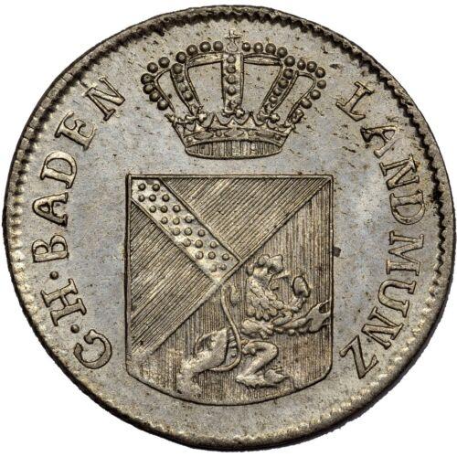 GERMAN STATES 6 KREUZER 1813 BADEN - UNC - RARE DATE, NICE COIN!