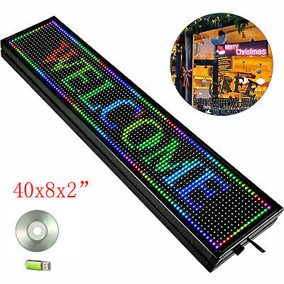 40x8 Rgb 7 Color Led Sign Scrolling Message Display Programmable Wifi Connect