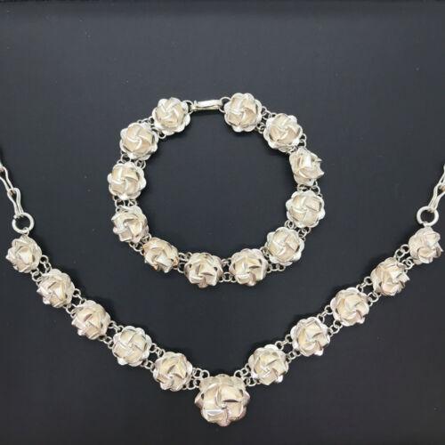 """Matching Sterling Silver Petite Rose Link Necklace (17"""") & Bracelet (6.75"""") Set"""