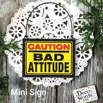 Office Cubicle Door - CAUTION BAD ATTITUDE Mini Sign Door Knob Gag Gift Cubicle Cube Office DecoWords