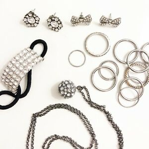 Silver jewelry: rings, necklace, earrings, hair accessory