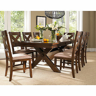 سفرة جديد 9 Piece Solid Wood Dining Set with Table and 8 Chairs