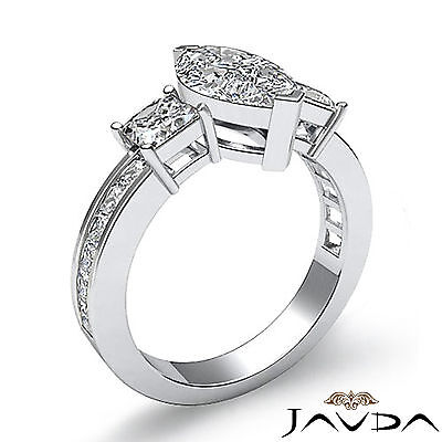 3 Stone Prong Channel Set Marquise Diamond Engagement Ring GIA G Color VS2 2.1Ct 1