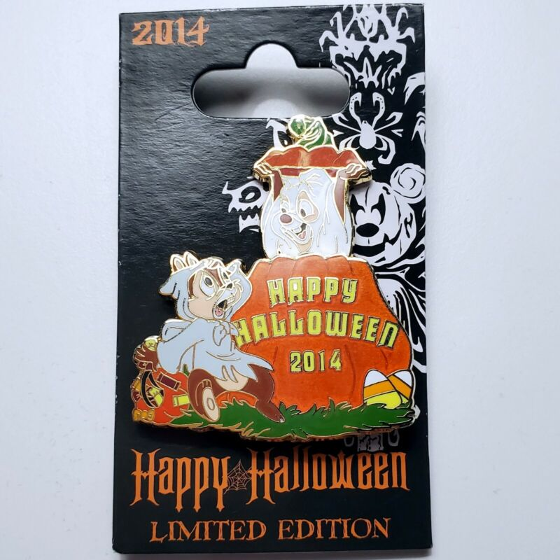 Disney Pin Trading Happy Halloween 2014 Chip and Dale Pumpkin Ghost Slider Scare