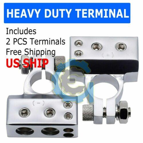 Silver #1 1/0 2 4 8 Gauge AWG Car Battery Terminal Positive & Negative Set