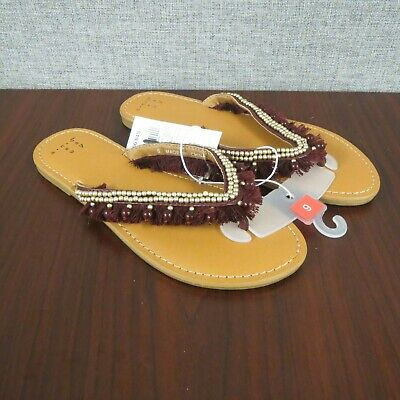 A New Day Women's Alexis Beaded Fringe Thong Sandals Burgundy ~NEW~ - Sandals Beaded