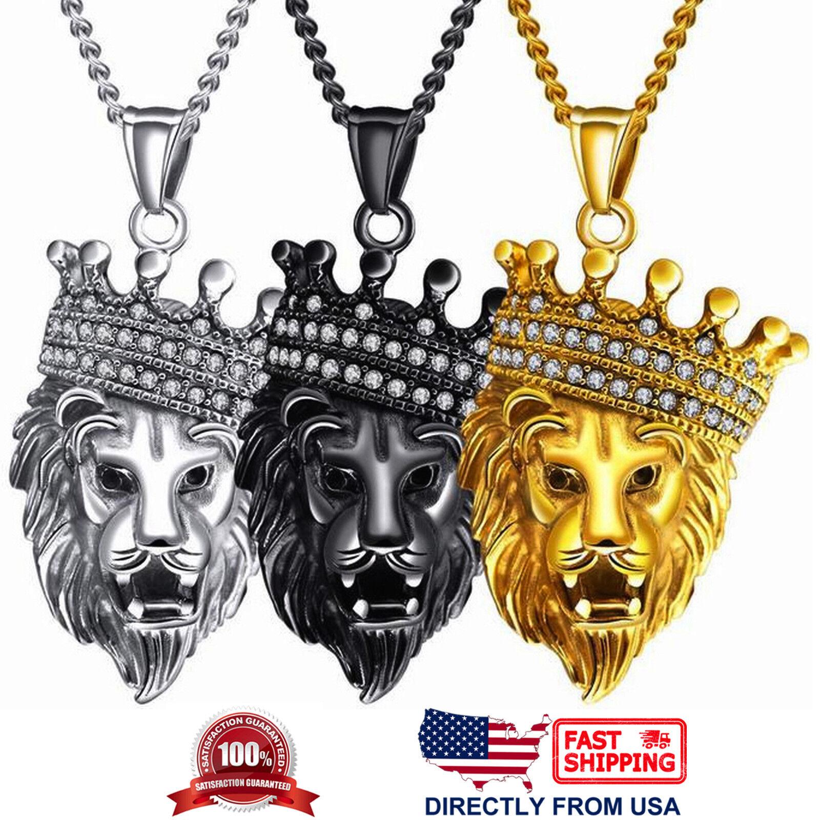 Men's Stainless Steel Large King Lion Biker Pendant Necklace Chains, Necklaces & Pendants