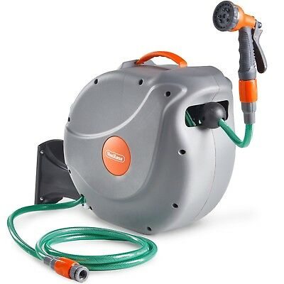 VonHaus 30M Garden Hose - Auto Rewind Wall-Mounted Reel - 8-Function Spray Gun