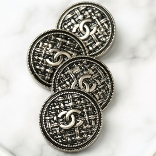 Chanel Buttons 4pc CC Silver Quilted 25mm 4 Buttons unstamped AUTH!!!