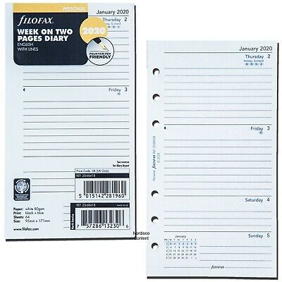2020 Filofax Personal Size Refill 20-68418 Week On Two Pages 95mm X 171mm