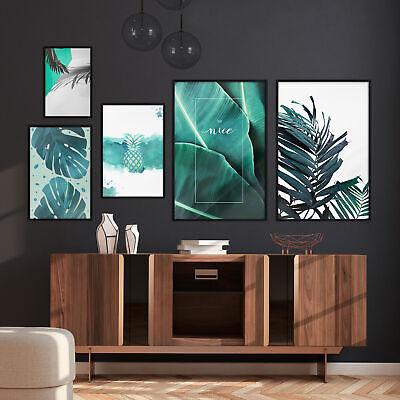Druck Bilder POSTER 5er Set Nordic Pflanzen Rahmen Wandgalerie MONSTERA 14 Motiv