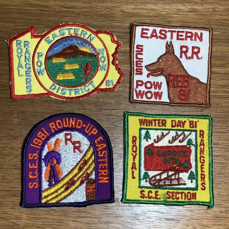 Vintage Royal Rangers Patch Badge Lot of 4 1981 SCES Round Up Pow Wow Winter Day