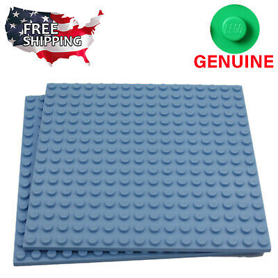 x2 Lego Medium Blue Baseplates Base Plates Brick Building 16 x 16 Dots Light