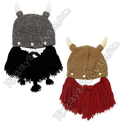 Viking Beard Hats (Knit Wool Viking Beard Hat: Adjustable Removable Mask horns mustache pirate)