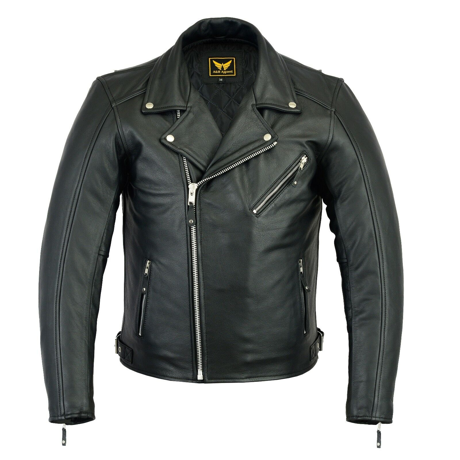 New Mens Black Genuine Cowhide Leather Motorcycle Jacket Coa