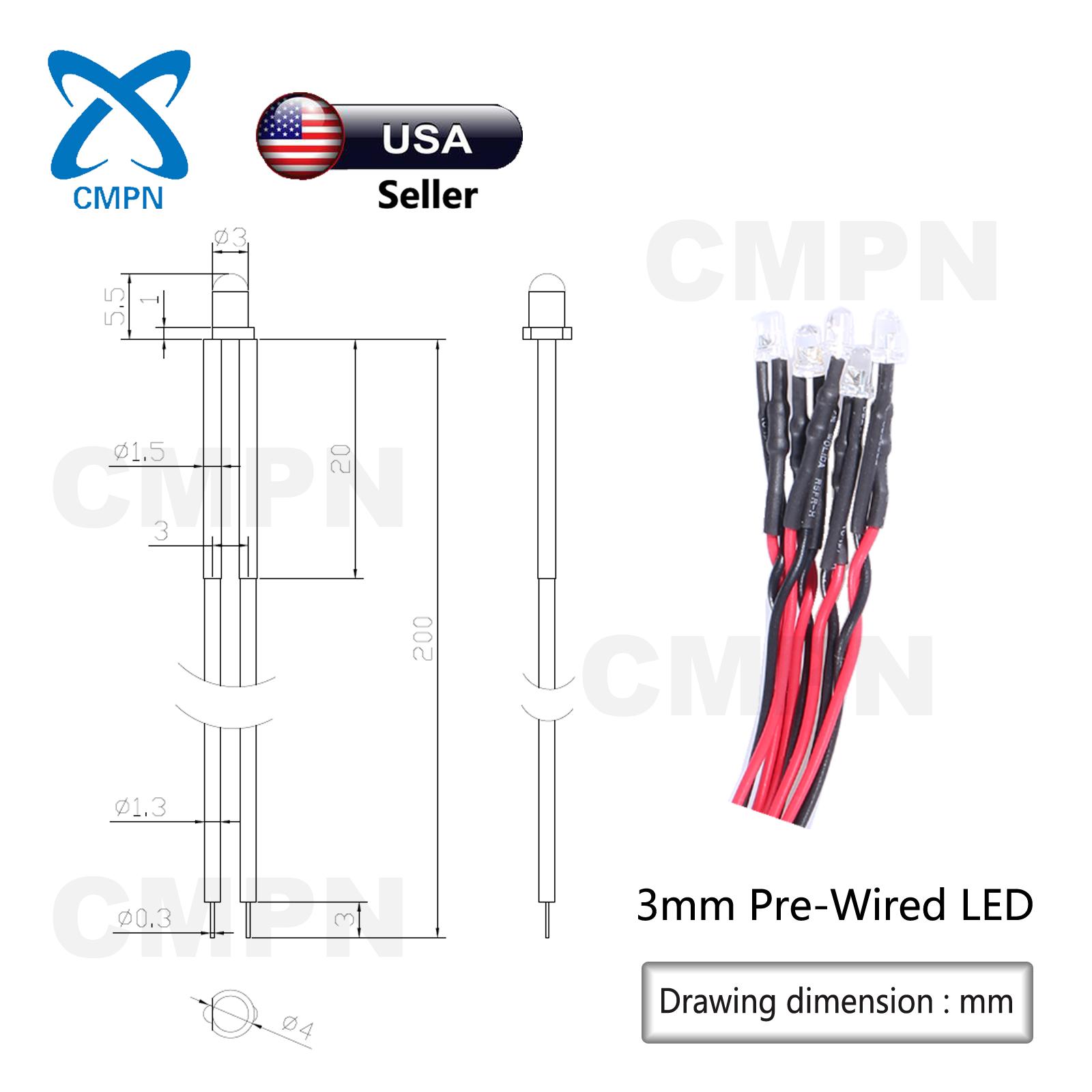 10 x LED Pre wired 12v 5mm Blue Flashing Blinking Strobe LEDs 12 volt RC 6v 9v